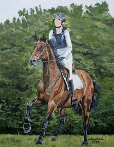 Ölgemälde Bilder Stefanie Angelkorte Pferdeportraits Vielseitigkeit Stakkato Gold Springpferd Ölbild Reiter